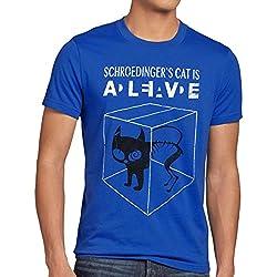 style3 Gatto di Schrödinger T-Shirt da Uomo, Dimensione:M;Colore:Blu