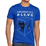 style3 Gatto di Schrödinger T-Shirt da Uomo, Dimensione:L;Colore:Blu
