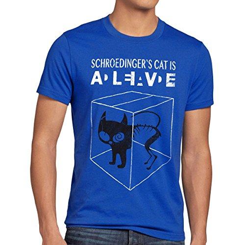 style3 Chat de Schrödinger T-Shirt Homme, Taille:M;Couleur:Bleu