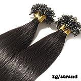 Extension Capelli Veri Cheratina Remy Hair 1 Grammo per Ciocca 50g/pack U Tip Umani Naturali Lisci (40cm #1B Nero Naturale)