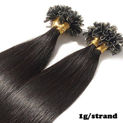 Extensions Cheveux Keratine 1G a Chaud 50 Mèches - Pre Bonded Nail U Tip Remy Human Hair Extensions 40cm/16 Pouces - #1B Noir naturel