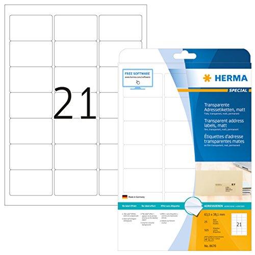 Herma 8670 Wetterfeste Adressetiketten transparent matt (63,5 x 38,1 mm) 525 Adressaufkleber, 25 Blatt DIN A4 Klebefolie, bedruckbar, selbstklebend