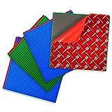 Creative QT Despegar y de palillo de Placas de base - autoadhesivos placas edificio de ladrillo - Compatible con las principales marcas 4 Pack Verde azul