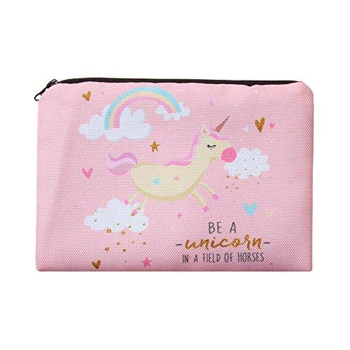 Unicorn Trousse cadeau pour filles, enfants, caisson, mignon Kawaii Rose Imprimé en 3d arc-en-ciel Licorne Trousse à maquillage Pochettes