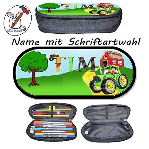 Traktor Stifteetui mit Name/Schriftartwahl/Stiftebox/Federmäppchen/Brillenetui/Federetui/Schlampermäppchen/Schulbedarf/Geschenkidee/Schule/Einschulung/Vorschule/Bulldog/Träcker/Trecker