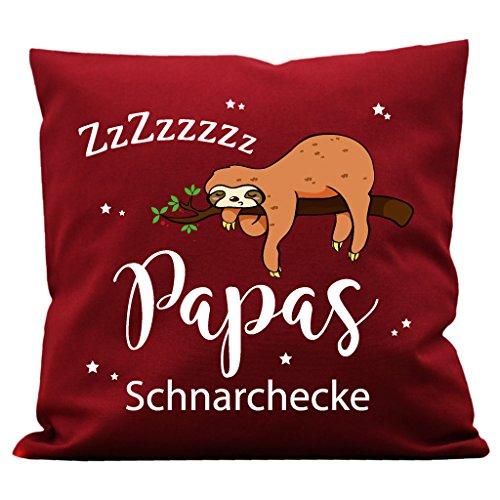Wandtattoo-Loft Kissen Bedruckt Papas Schnarchecke Faultiers Baumwolle 40 x 40 cm / 08 Stoff Bordeaux Rot