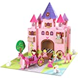 Krooom - Castillo cartón con accesorios sobre tapete, diseño de hadas