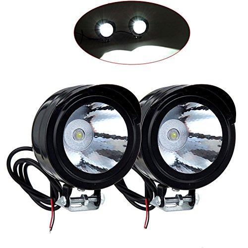 FANGXIN Ein Paar 12V-80V 3W Motorrad Fahrrad LED Vorder Metall Scheinwerfer Zusatzscheinwerfer Strahler Leuchte Lampe Metallgehäuse Schwarz