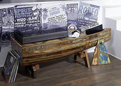 Table basse bateau - Bois massif recyclé multicolore laqué - Inspiration Ethnique - NATURE OF SPIRIT #106