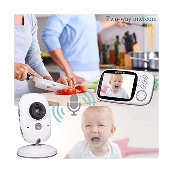 "Baby Monitor, Video Baby Monitor Wireless Baby Camera with Night Vision, Digital 2.4Ghz Baby Monitor with Two-Way Audio, Lullabies Temperature Searong 【3.2 inch LCD Display + 2.4GHz Wireless Transmission】Monitor with a large display screen to your baby's sleep with the most advanced High Quality Color LCD Display with Enhanced 2.4GHz FHSS Technology. Our premium video baby monitor provides high definition and stable streaming, secure interference-free connection and crystal clear digital vision and sound. 【VOX Auto Wake-up &Two Way Talk】VOX mode automatically switches the display to ""sleep mode"" to save battery power. The unit reactivates automatically as soon as it makes a noise in the room, especially when the baby is crying, the display will change from dark to light. Two way Talk, Two way talk audio function allows for a talk back communication so that care your baby with the sound of you. 【Long Connection Distance】Our baby monitor features long range between you and your baby's room.with the range up to 260 meters in open space,up to 50 meters indoor room. 4"