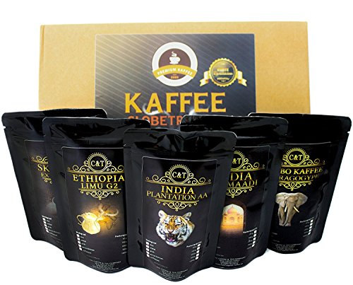 Kaffee Globetrotter - Echte Raritäten - Box (Mittel Gemahlen [Filter+Hand]) - 5 Mal 100g Raritäten Spitzenkaffee - Werden Sie Zum Entdecker - Geschenk Set - Länder Kaffee aus aller Welt
