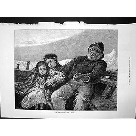 Impresión Antigua del Viejo Pescador del Primer del Viaje de los AE Emslie Dos Bote Pequeño de los Niños…