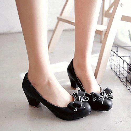 YE Damen Chunky Heels Pumps Rockabilly Geschlossene High Heels Plateau mit Schleife und 6cm Absatz Elegant Kleid Schuhe - 3