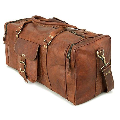 Weekender Berliner Bags New York l Reisetasche aus Leder Qualität Vintage Design Damen Herren Braun Groß 55 cm 35 liter (New - York Herren-leder)
