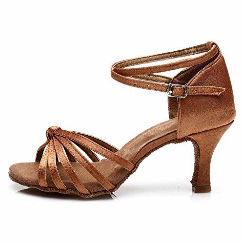 HROYL Mujer Zapatos de Baile Latino/Moderno/Samba/Chacha para Mujer Satin Zapatos de Baile de Salón S7-217 marrón EU 37