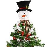 Kompanion Pupazzo di Neve Che Abbraccia Albero di Natale Decorazione da Mettere in Cima Punta Topper Atmosfera Allegra Festiva per Le Vacanze