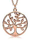 VIASOUL® Halskette für Damen I Tree of Life aus 925er Silber mit 585er Gold überzogen I Der Original Lebensbaum (Rose)