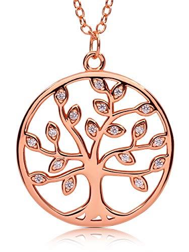 VIASOUL® Lebensbaum Kette I Baum des Lebens Halskette für Damen I Tree of Life aus 925er Silber I Mit 585er Gold überzogen I Der Original Lebensbaum (Rose)