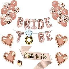 Idea Regalo - Exceed 18 Pollici da Sposa per Essere Palloncini Banner con la Sposa per Essere Fascia e Pompa per la Gallina Addobbi per Addio al Nubilato Bridal Shower Favors Decorazione di Nozze (Oro Rosa)