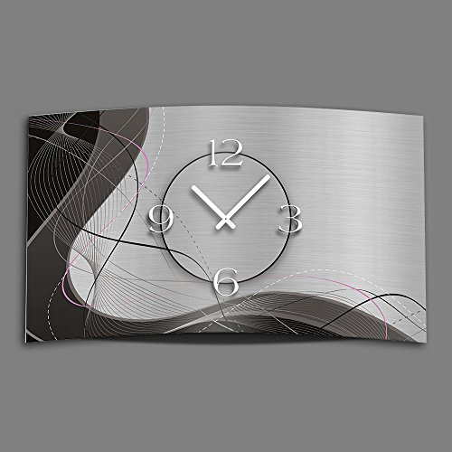 Abstrakt grau Designer Wanduhr modernes Wanduhren Design leise kein ticken dixtime 3DS-0053