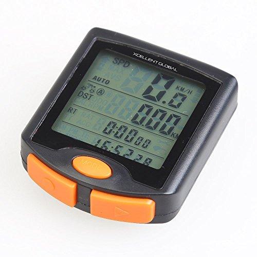 Xcellent Global Multi Funktion LCD Fahrrad Radfahren Computer KM-Zähler Tacho Stoppuhr wasserdicht NACHTLICHT M-FS011