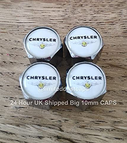 CHRYSLER WHITE TOP CHROME Wheel Valve Dust Caps EXCLUSIVE FROM US ALL MODELS 300C GRAND VOYAGER DELTA DELTA CROSSFIRE PT CRUISER