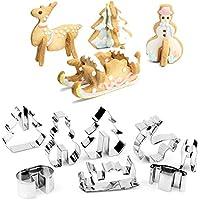 Hunptail Navidad Moldes Acero Inoxidable Cookie Cutters Navidad Starter Juego de moldes en Ciervo, muñeco