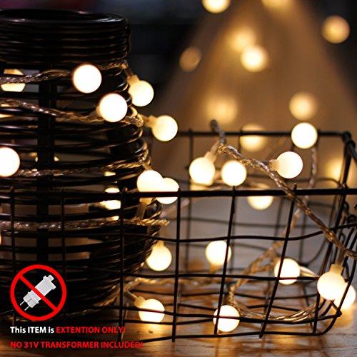 myCozyLite LED Lichterkette Verlängerung, 10m, 100er, Globe, warmweiß, männlicher und weiblicher Stecker, wasserdicht (Erweiterung nur, kein Transformator enthalten)
