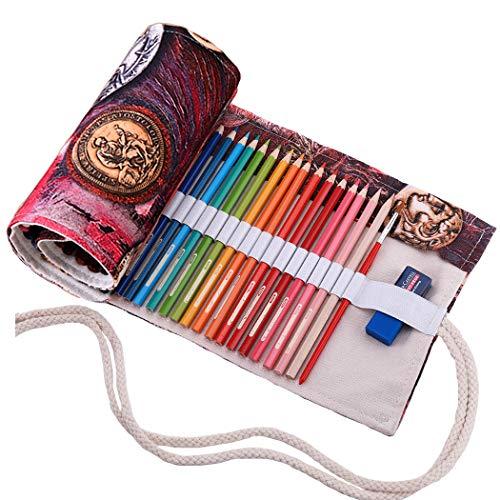 Amoyie trousse à crayon enroulable pour 48 crayons de couleur, sacs organiseurs de toile, porte-crayons pochettes rouleaux, enveloppe de crayon, devise 48 fente