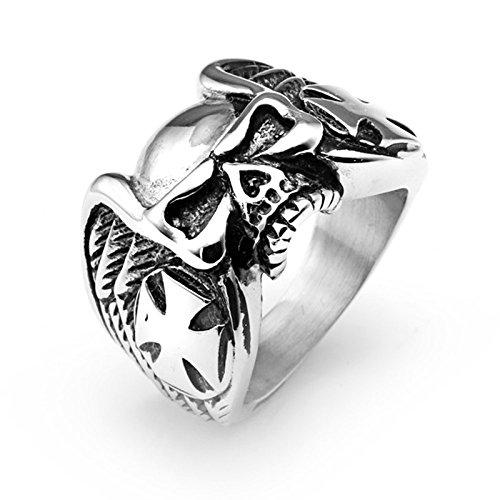 Aeici Titan Ring Herren Schädels Kopf Ring Retro Punk Kreuz Ring Silber Breit 1.8Cm Größe 65 (20.7) - Schädel-ringe-titan