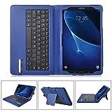 IVSO Funda de Cuero con Teclado Bluetooth para Samsung Galaxy Tab A 10.1 2016 T580N/T585N Tablet - con Removable Keyboard(Azul)