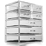 Acrylic Makeup Organiser SO02889 Deluxe Large 7 Clear Drawers for Make-up, Jewellery, Cosmetic Organiser, 24 x 17 x 29cm Storage Case Perfect for Organising Small Items