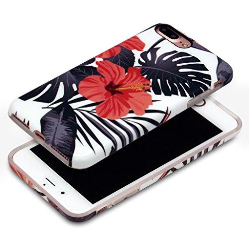 5.5 iPhone 7 Plus SGSELLER TPU Slim Fit Ultra Dünn Stoßfest Anti-Kratz Anti-Fingerabdruck Matt Schutzhülle Gehäuse, Plastik, Marmor (Weiß) Floral (Summer)