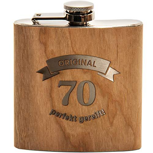 Spruchreif PREMIUM QUALITÄT 100% EMOTIONAL · Flachmann aus Edelstahl mit Gravur und hochwertiger Echtholz Veredelung · perfekte Geschenkidee zum 70. Geburtstag (Original 70 - perfekt gereift)