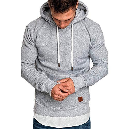 Homme Sweatshirt Capuche Automne Manteau Hiver Chaud de Poche Hooded Pull Tonsi Gris XL
