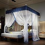 RZJF Moskitonetz - Bett Prinzessin Prinzessin Wind Palace Netze Dreitürige Edelstahlhalterung Fettblau 1,8 * 2,2 M Bett