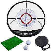 CRESTGOLF Red de práctica de golf de 3 capas para patio trasero interior, red de golf para golpear Golf, alfombrillas para jaula de lanzamiento emergente, fáciles de transportar y plegables