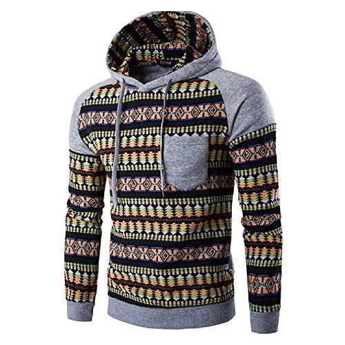Kanpola Herren Kapuzenpullover Herbst Winter Urlaub Druck Langarm Hoodie Sweatshirt Pullover (Grau, 48)