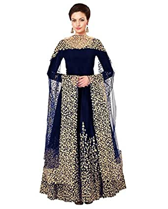 Ethnic Yard Designer Embroidered Taffeta Silk Bridal Blue Semi-Stitched Anarkali Indian Style Wedding Suit Free Size