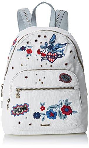 Desigual Bols_denim Flowers Lima femme Sacs portés épaule Blanc (Blanco) 11x34x25 cm (B x H x T)