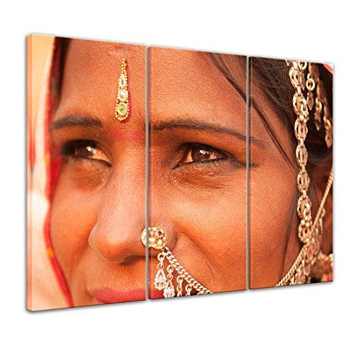 Kunstdruck - Indische Schönheit II - 150 x 90 cm 3tlg - Leinwandbilder - Bilder als Leinwanddruck - Wandbild von Bilderdepot24 (Sari Schönheit)