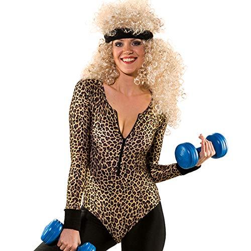 NET TOYS 80er Jahre Body für Frauen Leo-Print | Größe L/XL (44 - 50) | Schrilles Damen-Outfit Peggy Bundy | Der Mittelpunkt für 80er-Party & - Leopard Anzug Kostüm