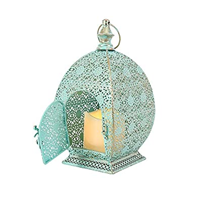 Moroccan Lantern - Flickering Candle - Metal - Battery Operated - Timer - 26cm by Festive Lights by Festive Lights