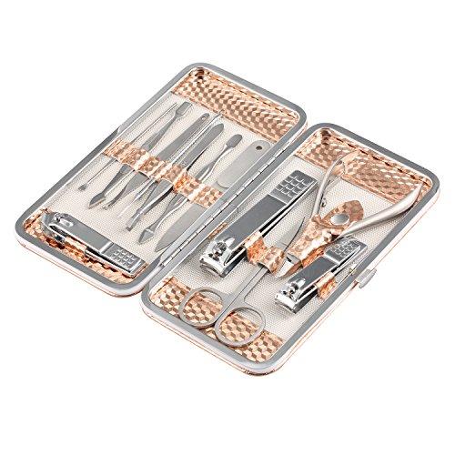 Manicura Pedicura Kit, 12 Piezas Hi-Luck Atención Personal de Acero Inoxidable Cortauñas, Profesional Manicura Pedicura Conjunto