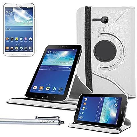 Funda Galaxy Tab 3 Lite 7.0 , SAVFY® - Giratoria 360 grados Stand PU Funda Flip Set para Samsung Galaxy Tab 3 Lite 7.0 SM-T110 + Paño de Limpieza + Protector de la Pantalla + Lápiz Optico (Blanco)