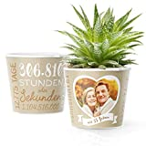 35. Hochzeitstag Geschenk – Blumentopf (ø16cm) | Deko Geschenke zur Leinenhochzeit für Mann oder Frau mit Herz Bilderrahmen für 1 Foto (10x15cm) | Glücklich Verheiratet - 35 Jahre