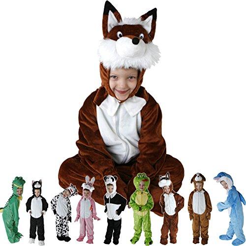 Kinder Faschingskostüme Tiere für die Größe 98-126 onesize in den Motiven Hase, Hund, Katze, Panda, Fuchs, Frosch, Krokodil, Delphin und Kuh (Panda Hund Kostüme)