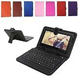 REALMAX® 17,8cm Zoll PU Leder USB/Micro Tastatur Ständer Schutzhülle für Android Tablet A13Q88Geschenk