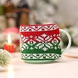 MMLsure Weihnachtsdekoration,Weihnachtsdekor Gestrickte Tasse,Schalen-Abdeckungs-Staubschutz für Glasschalen-keramische Schale,Weihnachtsmann Schneemann (B)