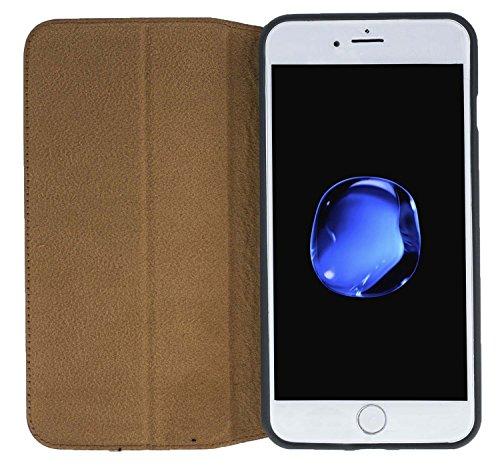 """Solo Pelle iPhone 7 Plus / 8 Plus Case Lederhülle Ledertasche """"Wallet"""" in Schwarz Floater Braun"""